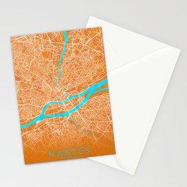 Nantes, France, Gold, Blue, City, Map Stationery Cards