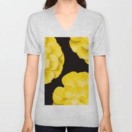 Large Yellow Succulent On Black Background #decor #society6 #buyart Unisex V-Neck