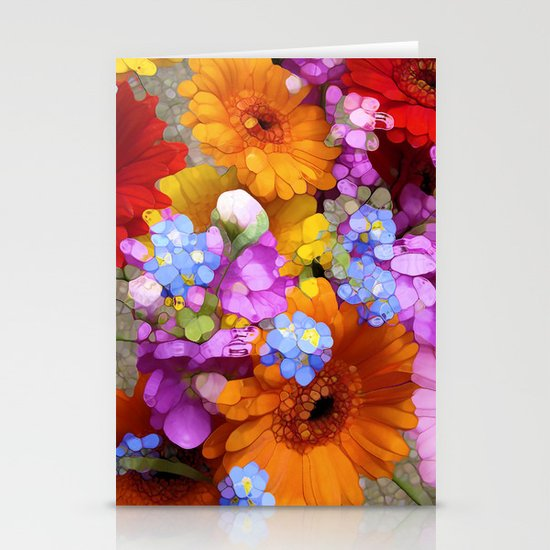 Rainbow Flower Abstract Stationery Cards