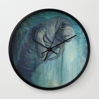 manatee Wall Clocks featuring Undead Manatee by Robin Design