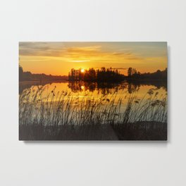 Sunset with trees reflection Metal Print