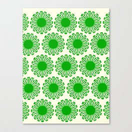 vintage flowers green Canvas Print