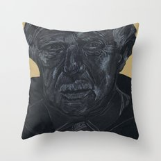 Yellow moustache man Throw Pillow