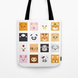 Animal Faces Tote Bag