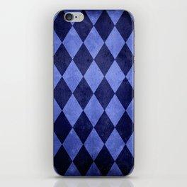 Blue Harlequin Grunge iPhone Skin