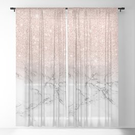 Modern faux rose gold pink glitter ombre white marble Sheer Curtain