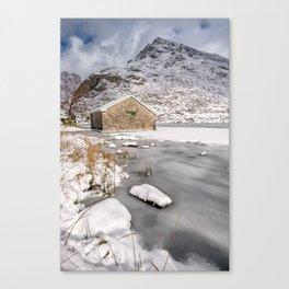 Frozen Lake Snowdonia Canvas Print