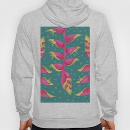 Heliconia on Teal Hoody