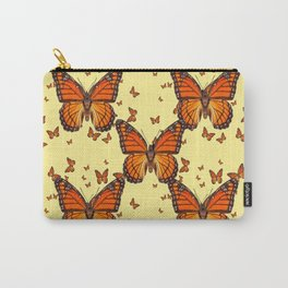 ORANGE MONARCH BUTTERFLIES CREAM  MODERN ART MONTAGE FOR the Carry-All Pouch