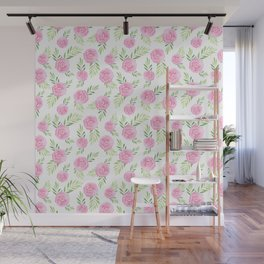 Blush pink green modern watercolor hand painted camellias Wall Mural