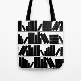 Library Book Shelves, black and white Tote Bag