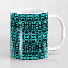 Abstract Pattern Dividers 07 in Turquoise Black Coffee Mug