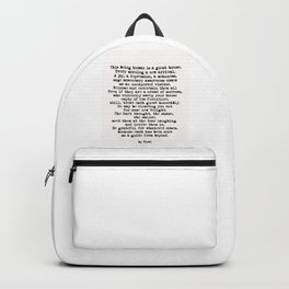 The Guest House 2 #poem #inspirational Backpack