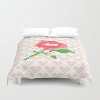 stitch Duvet Covers featuring Cross Stitch by Louise Machado