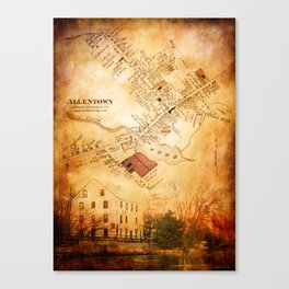 Allentown, New Jersey Map and Mill by Ericka O'Rourke Canvas Print