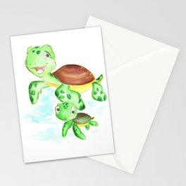 turtle baby and mom, nautical wall decor, ocean themed nursery, sea turtle, sea animals watercolor Stationery Cards