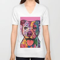 rottweiler V-neck T-shirts featuring Rottweiler Dog by trevacristina