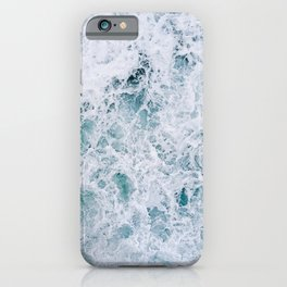 Waves in an abstract white and blue seascape iPhone Case