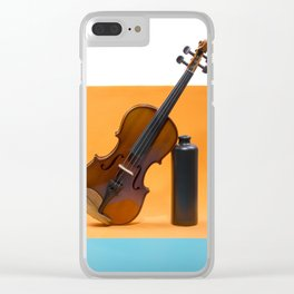 Still-life with a violin and a dark bottle Clear iPhone Case