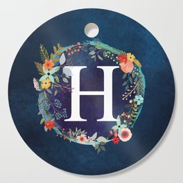 Personalized Monogram Initial Letter H Floral Wreath Artwork Cutting Board