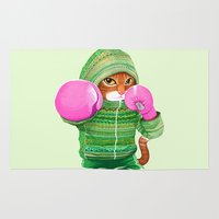 boxing Area & Throw Rugs featuring BOXING CAT 4 by Tummeow