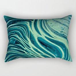 Lagoon Acrylic Tree Ring Pour Painting Rectangular Pillow
