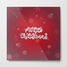 Happy holiday, Christmas sign with snow flake and christmas decoration Metal Print