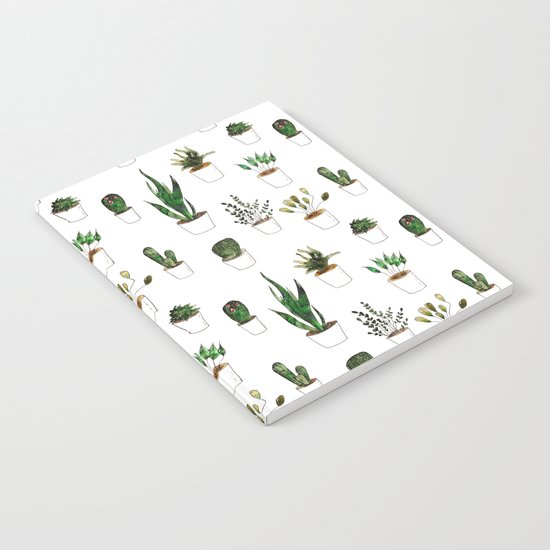 Green plants in white pots Notebook