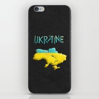 ukraine iPhone & iPod Skins featuring Ukraine Vintage Map by Finlay McNevin