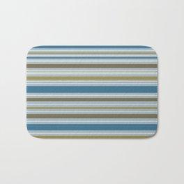 Stripey Design Gold Cream Brown Blues Bath Mat