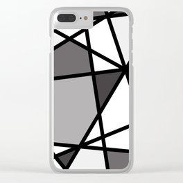 Triangels Geometric Lines dark grey  - grey - white Clear iPhone Case