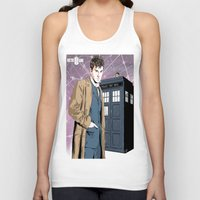 david tennant Tank Tops featuring Doctor Who - David Tennant by Averagejoeart