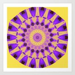 Bold Purple and Yellow Mandala Art Print