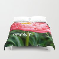 peony Duvet Covers featuring Peony by Artistic Home Decor