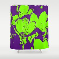 leah flores Shower Curtains featuring Flores  by Ana Somaglia