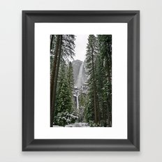 Yosemite Winter Falls Framed Art Print