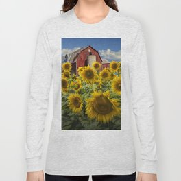 Golden Blooming Sunflowers with Red Barn Long Sleeve T-shirt