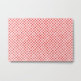 Polka Dot Red and Pink Blotchy Pattern Metal Print