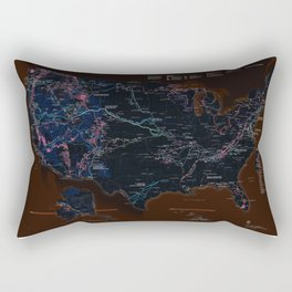 National Parks Trail Map Dark Neon Rectangular Pillow