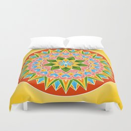 Costa Rica Folk Pattern – Decorated painting wheel of coffee ox cart Duvet Cover