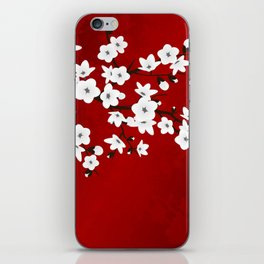Red Black And White Cherry Blossoms iPhone Skin