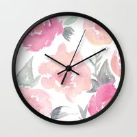 jenna kutcher Wall Clocks featuring Muted Floral Watercolor Design  by Jenna Kutcher