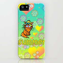 Cute ginger cat loves summer iPhone Case