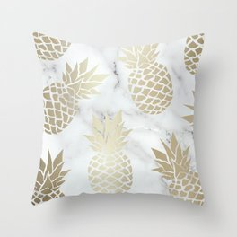 Tropical Pineapple, Marble and Gold Abstract Pattern Throw Pillow