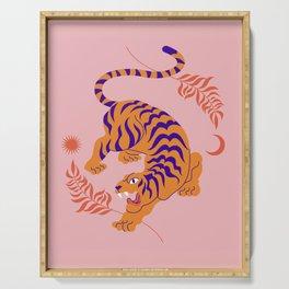 Mid Century Magic Minimalist Crouching Tiger Chinese Zodiac Moon Sun Pink Pastel Colors Serving Tray