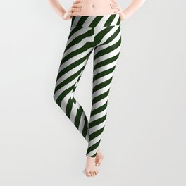 Small Dark Forest Green and White Candy Cane Stripes Leggings
