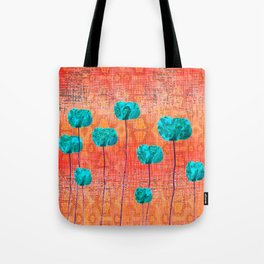 Vintage Poppy Flower Abstract Tote Bag