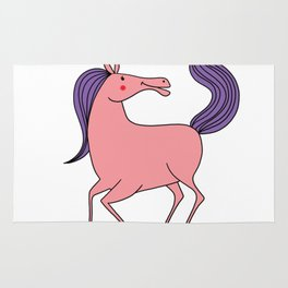 Happy horse Riding Pink Purple Girl Daughter Gift Rug