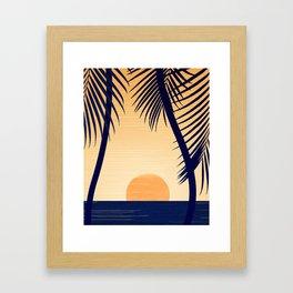 Retro Golden Sunset - Tropical Scene Framed Art Print