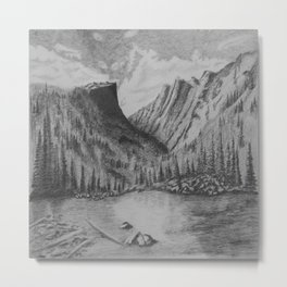 Mountain in Pencil Metal Print